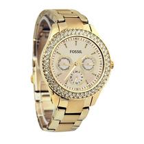Relógio Feminino Dourado Fossil Es3101 Stella Strass Origina