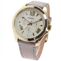 Relógio Feminino Fossil Am4529 Dourado Marrom Novo Original