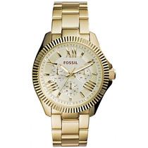 Relógio Feminino Fossil Am4570 Dourado Novo Original