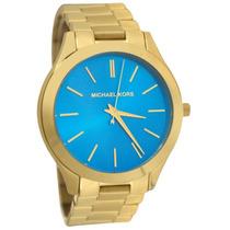 Relógio Michael Kors Mk3265 Dourado Azul Lindo Frete Grátis