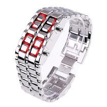 Relógio Pulseira Led Iron Samurai - Prata / Led Vermelho