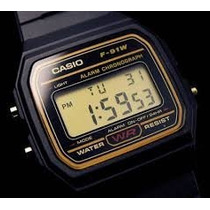 Casio F-91 Dourado Digital Alarme Cronômetro Original Gold