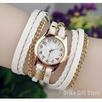 Relogio Feminino Dourado De Couro Branco Bracelete Strass