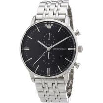 Relógio Emporio Armani Ar0389 Prata E Preto Frete Grátis
