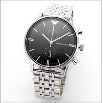Relógio Emporio Armani Ar0389 Prata E Preto Completo