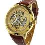 Relógio Skeleton Automático Mecânico Marrom Dourado Couro
