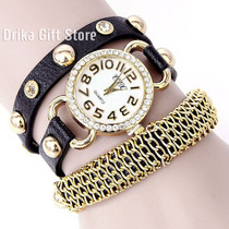 Relogio Feminino Dourado C/ Strass Couro Preto Bracelete