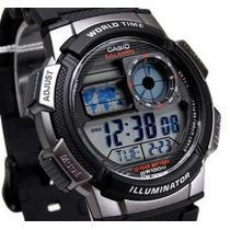 Relogio Casio Ae-1000w-1mapa Preto H.mundi Crono Timer 5alar
