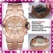 Relógio Michael Kors Mk5314 43mm Ouro Rosê Oversized Novo !