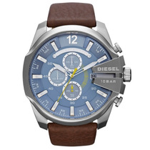 Relógio Diesel Dz4281 Fundo Azul Pulseira De Couro Marron
