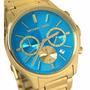 Relógio Michael Kors Mk5910 Gold Azul Turquesa C/ Caixa Orig