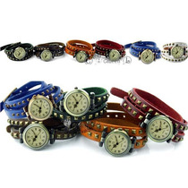 Relógio Feminino Pulseira Couro Kit C/ 2 Ud Marrom E Amarelo