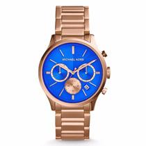 Relógio Michael Kors Mk911 Ouro Rose E Azul Cronografo Origi