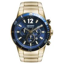 Relógio Orient Dourado Fundo Azul Chronograph Mgssc007 D2kx