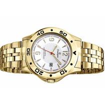 Relógio Champion Dourado Masculino Ca30203h Calendário 50 M
