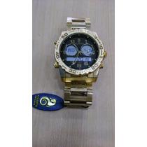 Relógio Original Atlantis Ana Digital 3228 Aço Dourado Preto