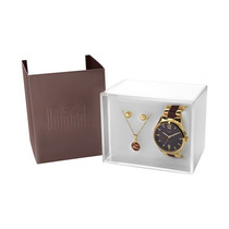 Kit Relógio Dumont Feminino Com Colar E Brincos Du2036lsg/k4
