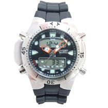 Relógio Masculino Citzem Novo Aqualand Prata E Preto Jp1060