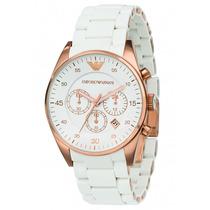 Relógio Emporio Armani Ar5919 Branco Com Ouro Rose