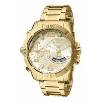 Relógio Technos Dourado Masculino Legacy Dual Time T205fi/4x