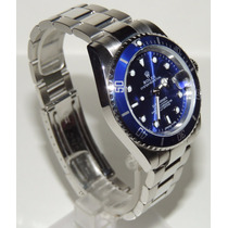 Relogio Masculino Azul Bezel 40mm Submariner Data Lupa 12x