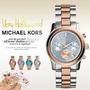 Relógio Michael Kors Mk6166 Prata E Rosa Ouro Original