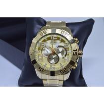 Relógio Masculino Dourado Original Atlantis Pulseira De Aço