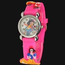 Relógio Branca De Neve Infantil Criança Feminino Pulseira 3d