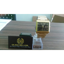 Relógio Orient Lince Dourado Quadrado