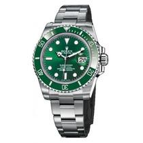 Relógio Submariner Prata Verde Caixa Manual Sedex Gratis