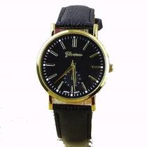 Relógio Geneva Luxo Com Pulseira De Couro .