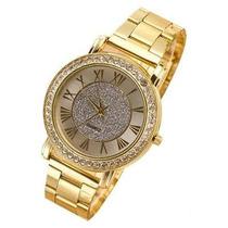 Relogio Dourado Feminino Luxo Strass Importado Frete Gratis