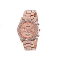 Relógio Feminino Genebra Dourado Gold Rose Aço Inoxidável