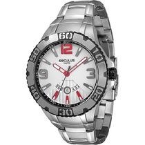 Relógio De Marca Seculus Caixa Grande 4,9 Cm Diâmetro 10atm