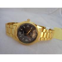 Lindo Relógio Onirete Dourado Fundo Preto No Leilão De 1,00