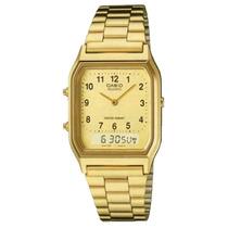 Relógio Casio Ana Digi Dourado Aq-230ga-9bmq Crono Prova