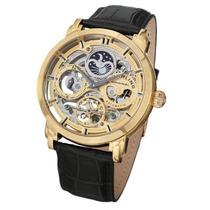 Relógio Stuhrling Original Couro Preto Automático Dourado