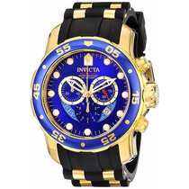 Invicta Original Pro Diver B.ouro 18k 6983 - Fundo Azul