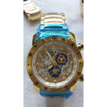 Relógio Masculino- Luxo Fundo Dourado Prova D Água