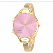 Relógio Analógico Feminino C K Aço Cromado Dourado E Prata