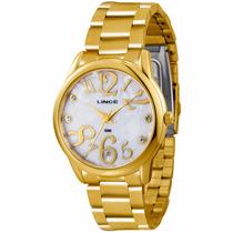 Relógio Lince Orient Dourado Feminino Lrgk030l Prova Dágua