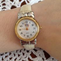 Relógio Feminino Dumont Dourado Prateado Pulseira Couro Laço