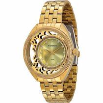 Relógio Feminino Dourado Mondaine Mostrador Moderno 3atm