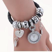 Relógio De Pulso Feminino Pulseira De Couro