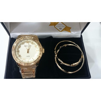 Relógio Seculus Dourado 28388lpsvds1 Com Brincos De Argola