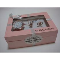 Relógio Backer Foleado A Ouro, Kit Presente Original