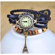 Relógio De Pulso Vintage Feminino Couro Torre Eiffel Quartz