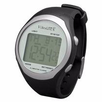 Relógio Vibralite Vibratório 8 Alarmes, Pulseira Abs Preto