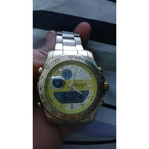 Relógio Atlantis Dourado Digital E Ponteiro
