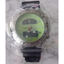 Relógio Tecnet Aqualand Fundo Verde - Original